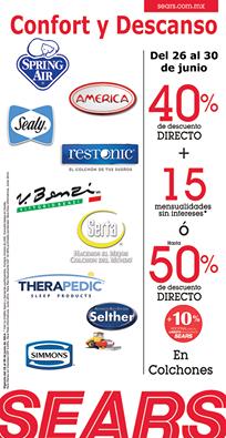 Sears: Colchones varias marcas con hasta 50% de descuento directo