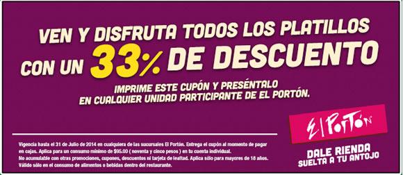 El Portón: Cupón 33% de descuento en todos los platillos