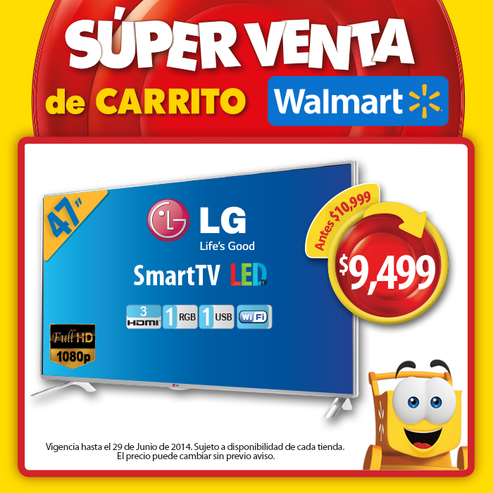 Walmart: TV Smart Led LG de 47″ a $9,499