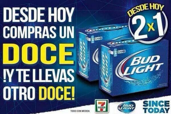 7eleven: Paquete de Cerveza Bud Light de 12 al 2×1