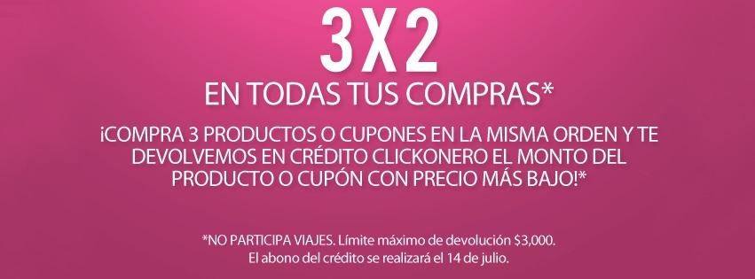 Clickonero: 3×2 en todas las compras de productos y cupones