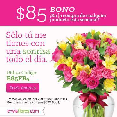 Enviaflores: Cupón de $85 de descuento y envío gratis