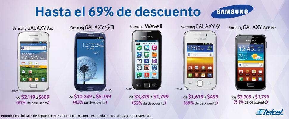 Sears: Hasta 69% de descuento en celulares Samsung (Galaxy