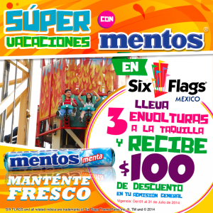 Six Flags: Al presentar envolturas de mentos $100 de descuento