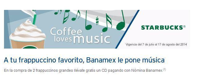 Starbucks: CD gratis pagando con tarjeta Banamex