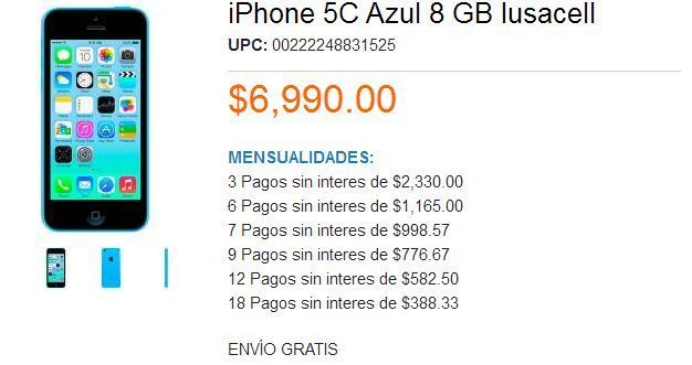 Walmart: iPhone 5C a $6,990 Iusacell