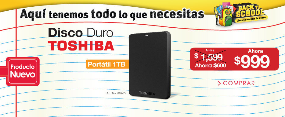 OfficeMax: Disco Duro Toshiba 1TB a $999