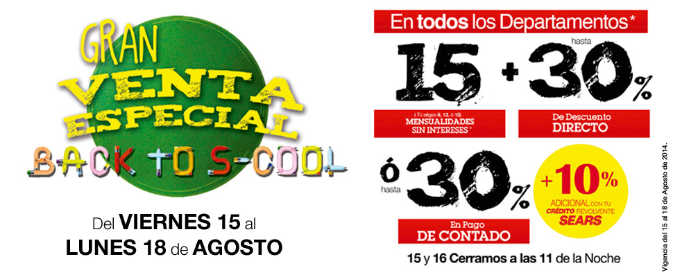 Sears: Gran venta especial Back to school del 15 al18 de agosto