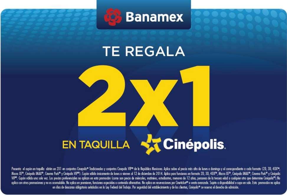 Cinépolis: 2×1 pagando con Tarjetas Banamex  disfruta 2D, 3D, 4DX, IMAX y mas