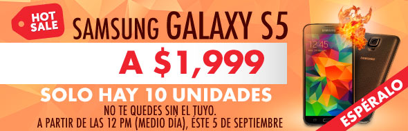 Hot Sale – Linio: Galaxy S5 a $1,999 (Limitado a 10 piezas)