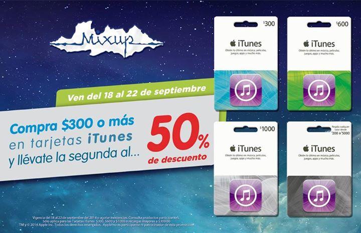 Mixup: 50% de descuento en tarjetas iTunes en la compra de una Segunda