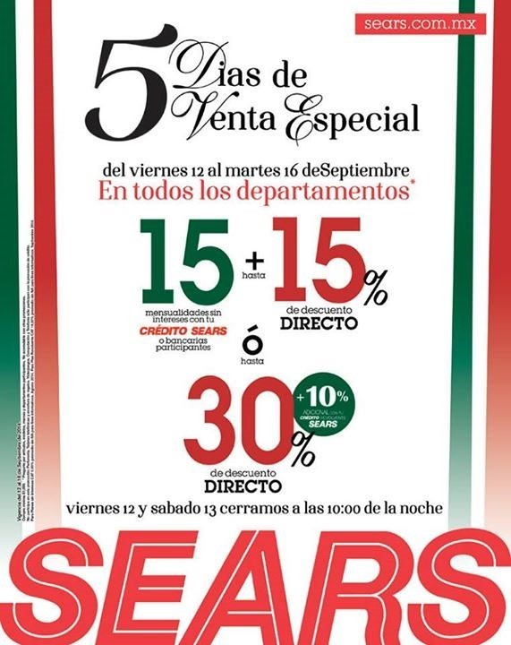 c6c33f1c6 Sears  5 días de Venta especial – Hasta 30% de descuento directo en toda la  tienda