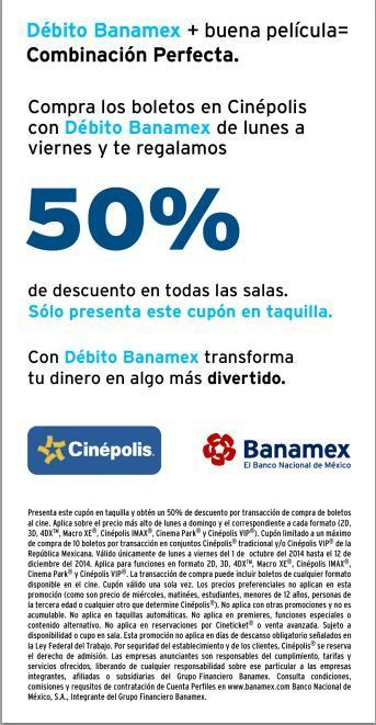 Cinépolis: 2×1 en boletos al pagar con tarjetas de débito Banamex