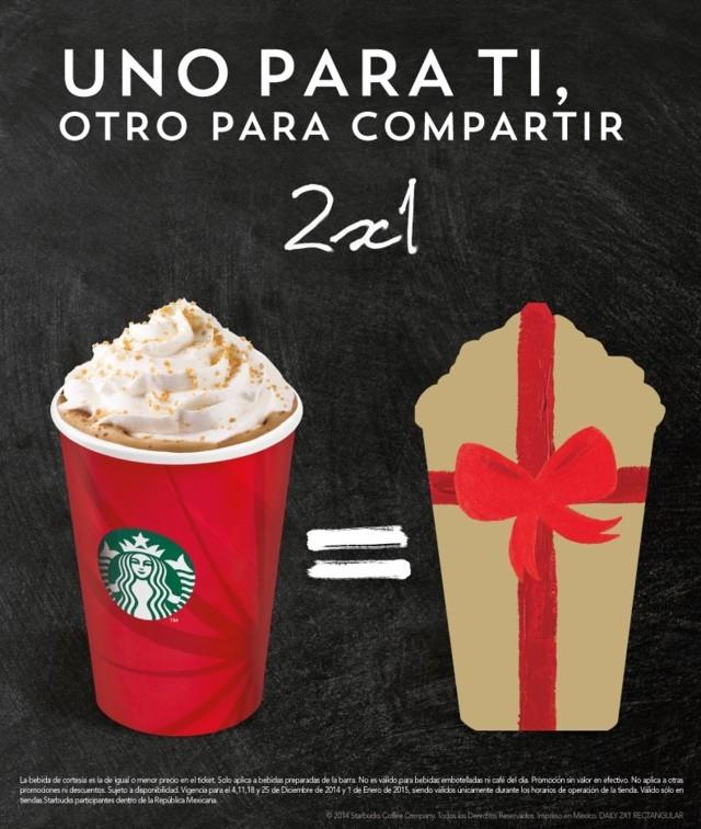 Starbucks: 2×1 en bebidas todos los jueves hasta el 1 de Enero
