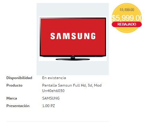 HEB: Pantalla 40″ Samsung 3D $5,999