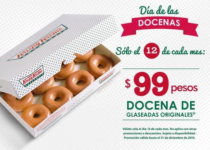 Krispy Kreme: Docena de Glaseada Original a $99 solo 12 de cada mes todo el 2018