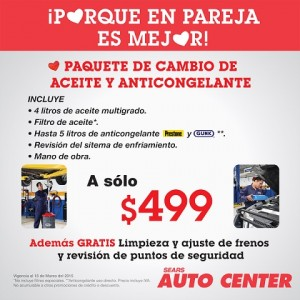 Sears: Auto Center paquete de cambio de aceite y anticongelante $499