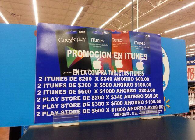 Walmart: Hasta 17% de descuento en Tarjetas iTunes y Google Play
