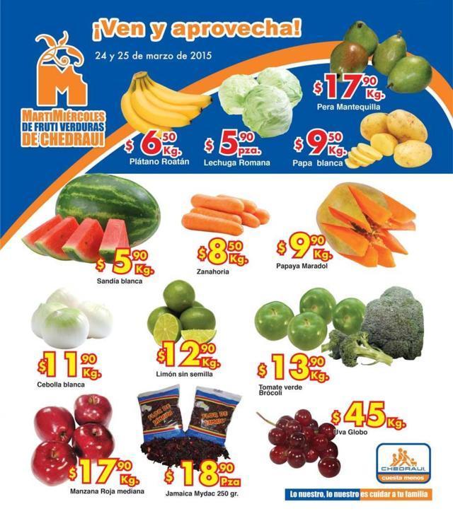 Chedraui: Martes y Miércoles de Frutas y Verduras 24 y 25 de Marzo