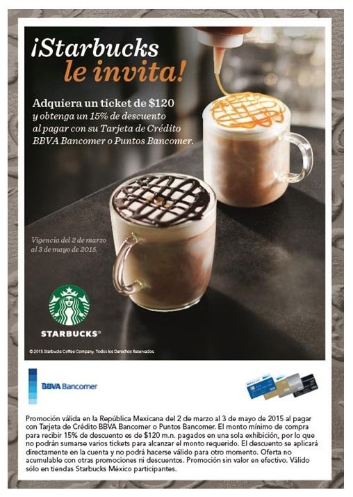 Starbucks: 15% de descuento pagando con tarjeta Bancomer