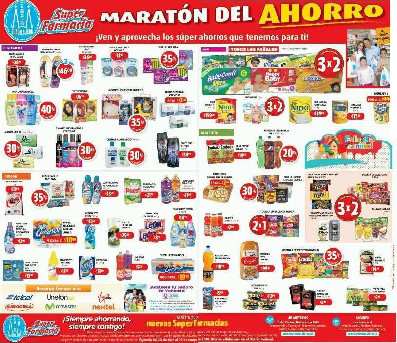 Farmacias Guadalajara: Maratón del Ahorro 30 de Abril 3×2