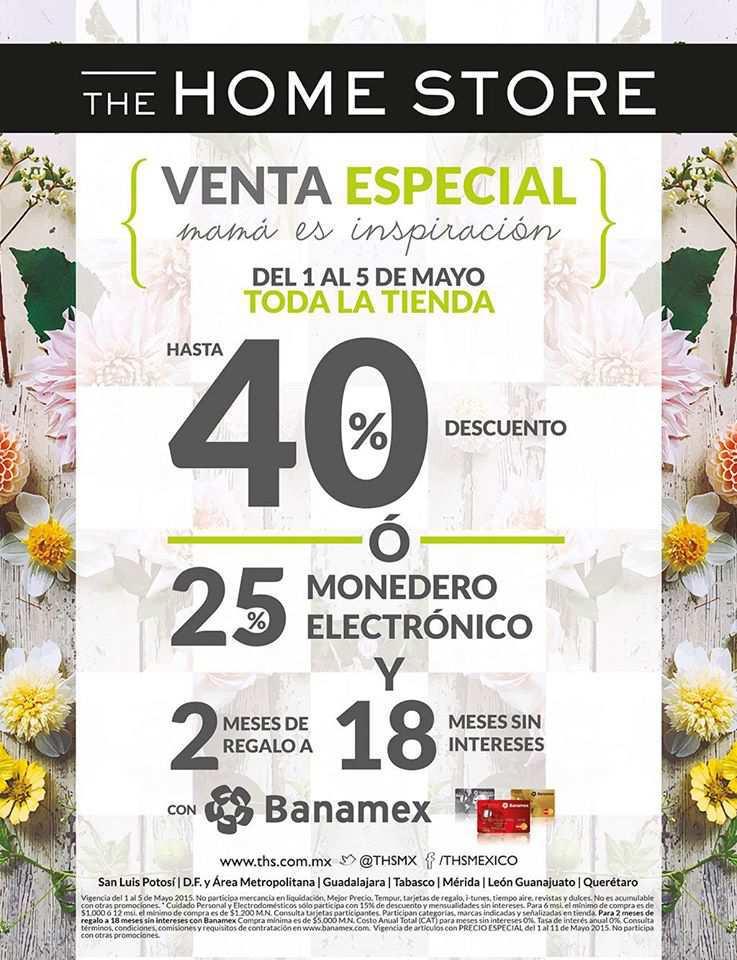 Home Store: Venta Especial del 1 al 5 de Mayo Hasta 40% de Descuento