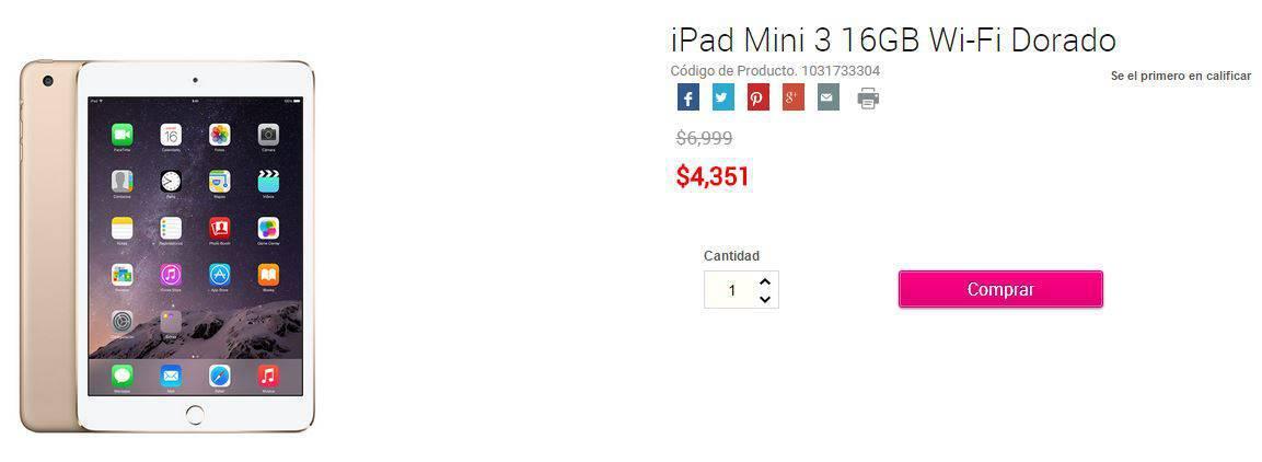 Liverpool Online: iPad Air 2 a $6,799 y el iPad Mini 3 a $4,351