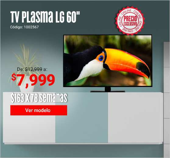 Elektra: Pantalla LG 60″ Plasma a $7,599