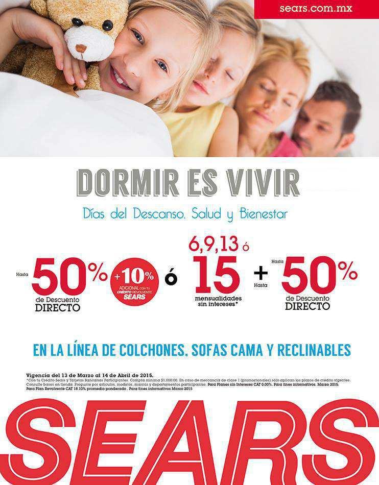 Sears: Hasta 50% de Descuento en Colchones, Sofá Cama y Reclinable