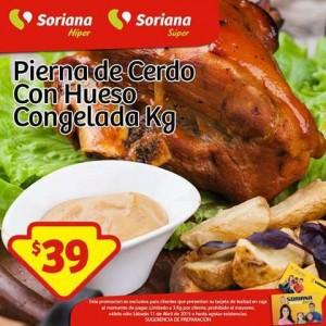 Soriana: Promoción Tarjeta Lealtad 11 de Abril Pierna de Cerdo Congelada