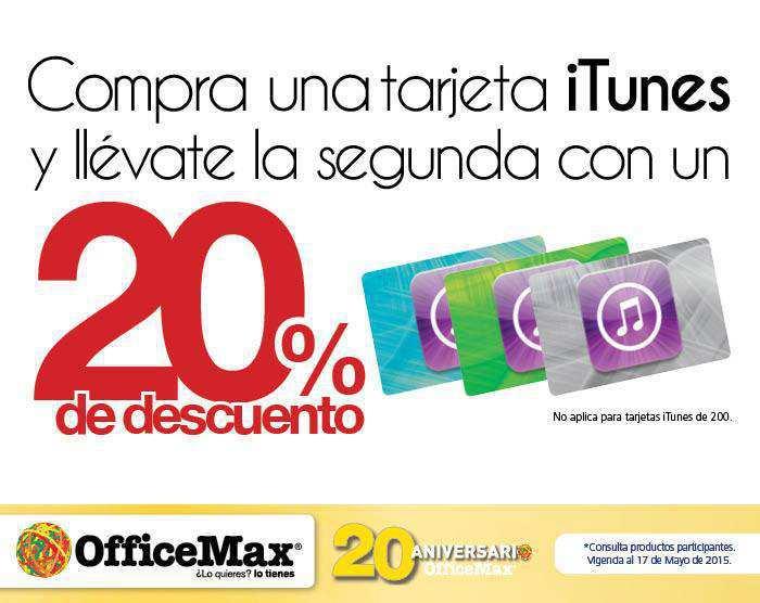 Office Max: 20% de Descuento en Segunda Tarjeta iTunes
