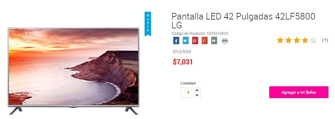 Hot Sale Liverpool: Pantalla LED 42″ 42LF5800 LG a $7,031