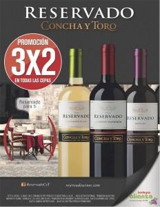 3x2 en vinos reservado de concha y toro