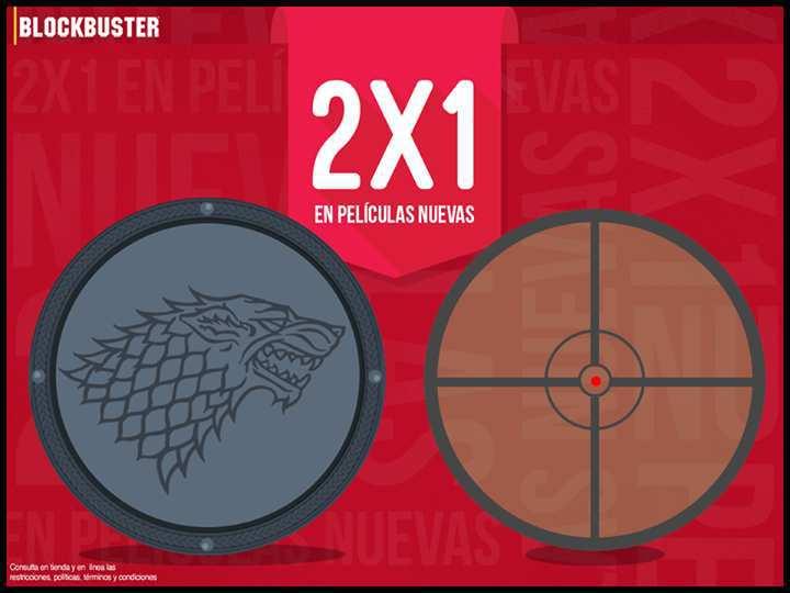 Blockbuster: 2×1 en DVD y Bluray de Películas Nuevas