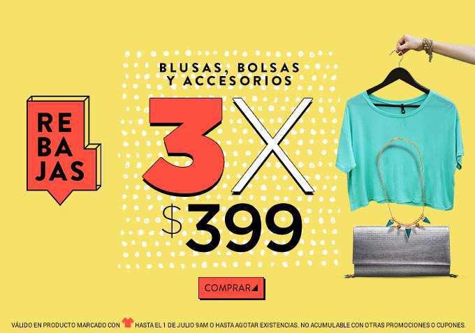 Dafiti: Blusas, Bolsos y Accesorios 3 prendas por $399
