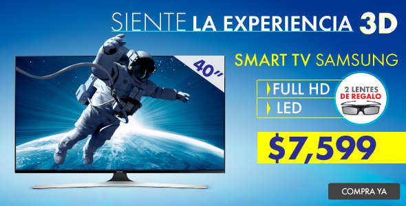 Linio: Pantalla Samsung 40″ LED Smart Wi-Fi, 3D, Full HD, 2 Lentes de Regalo a $ 7,599