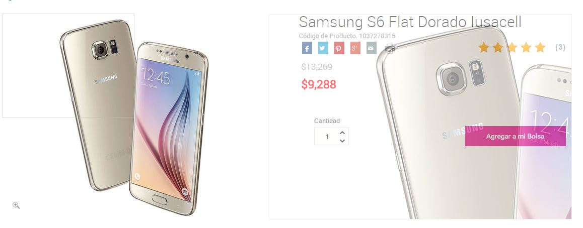Liverpool Online: Galaxy S6 Flat Dorado 16 GB a $9,288