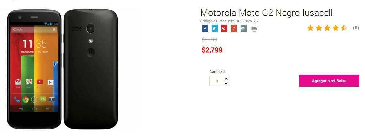 Liverpool Online: Moto G2 a $2,799