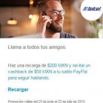 Telcel PayPal 50 Cashback OFFDE