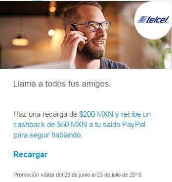 Telcel: Recarga $200 con Paypal y recibes $50 pesos de Cashback