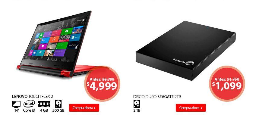 Hot Sale Walmart: Lenovo Touch Flex i3 a $4,999 y Disco Duro Seagate 2TB a $1,099