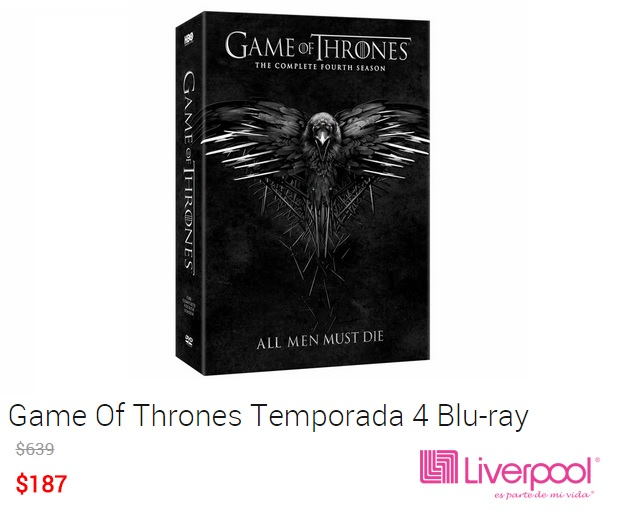 Liverpool Online: Game Of Thrones temporada 4 en blu-ray a $187