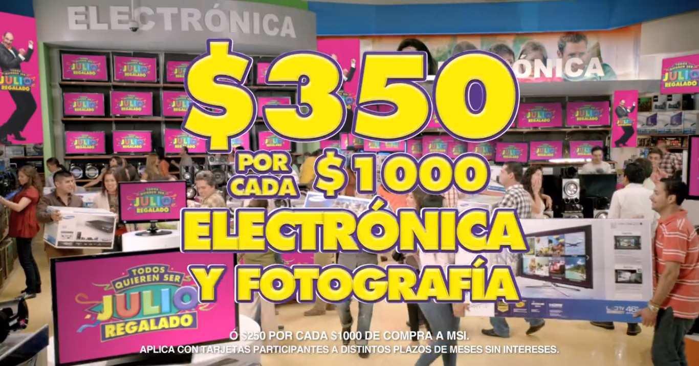 Julio Regalado 2015: $350 por cada $1,000 en electrónica y Fotografía