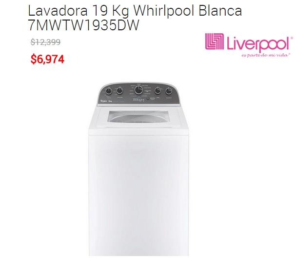 Venta Nocturna Liverpool: Lavadora Whirlpool 19 kg a $6,974 Online