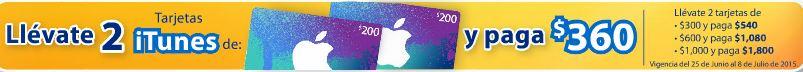 Walmart: Compra 2 Tarjetas iTunes de $200 y paga sólo $360 y más