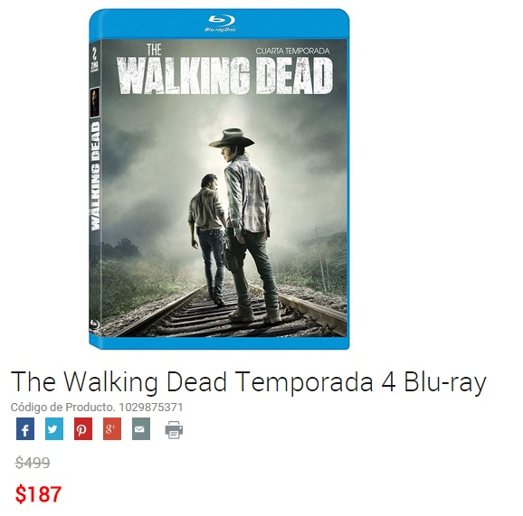 Liverpool: Blu-ray The Walking Dead temporada 1a la 4 a $187 cada una