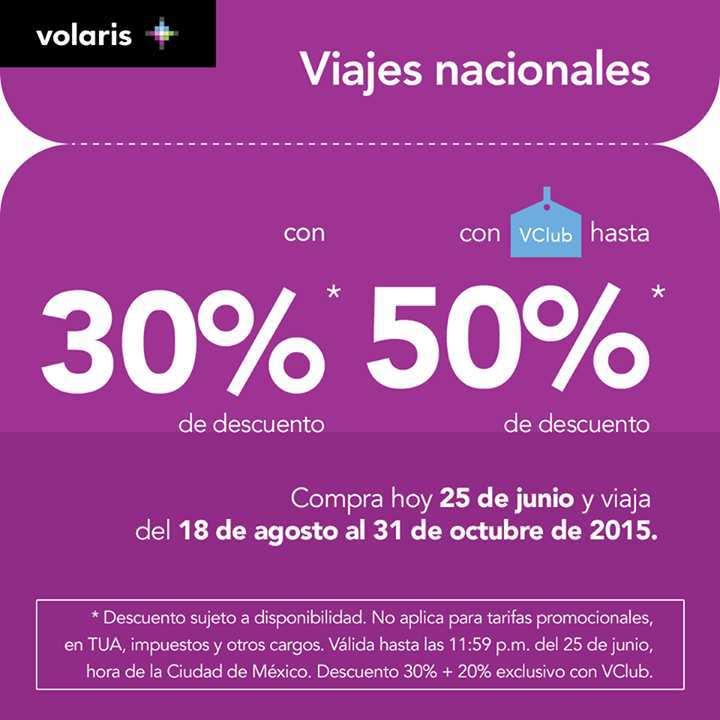 Volaris: Hasta 50% de descuento en Vuelos Nacionales