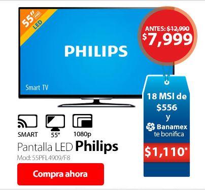 Hot Sale Walmart: Pantalla Philips 55″ Full HD Smart TV a $7,999