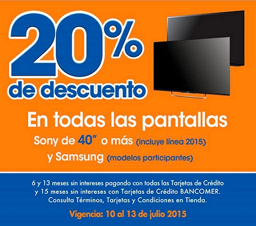 Chedraui: 20% de descuento en Pantallas Sony y Samsung del 10 al 13 de Julio