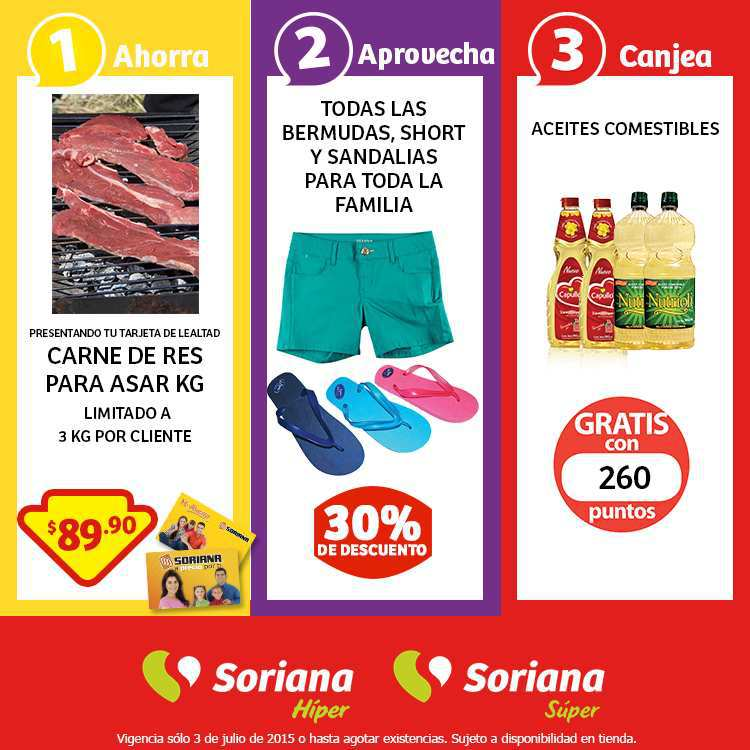Soriana: Promoción Tarjeta Lealtad 3 Julio Carne de Res Para Asar